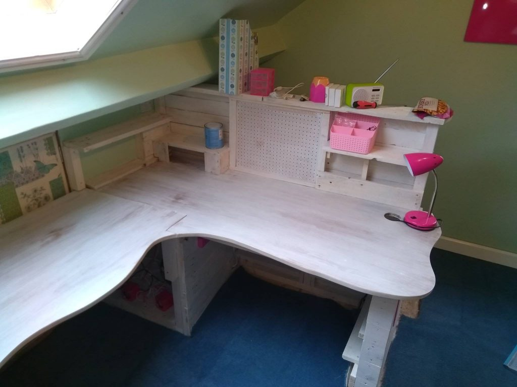 End Of Custom Bespoke Handmade Craft Table With Shelves And Pin Board