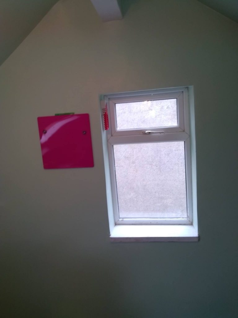 Gable End Window With Magnetic Pink Board For Notes