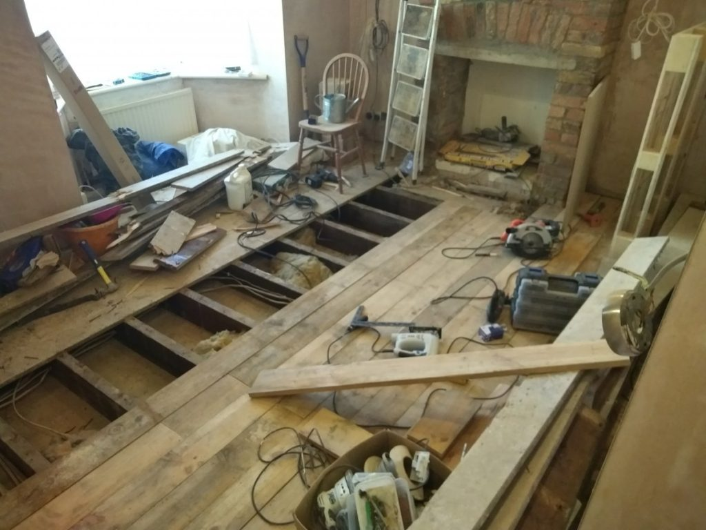 Half The New Floorboards Laid In The Living Room