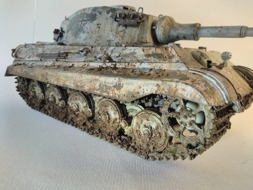 King Tiger Model Chipping Mud Splatter And Rust Effect Applied Over Winter Camouflage