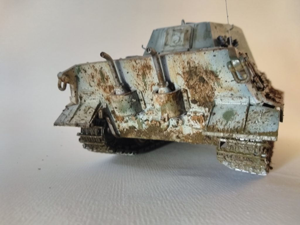 Rear Of King Tiger Tank Model With Mud Splatters And Chipping.