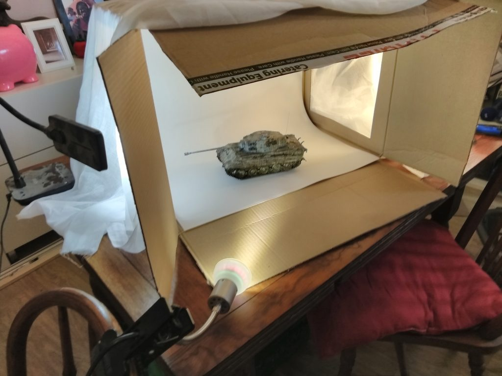Homemade DIY Lightbox With Subject Matter Ready To Photograph