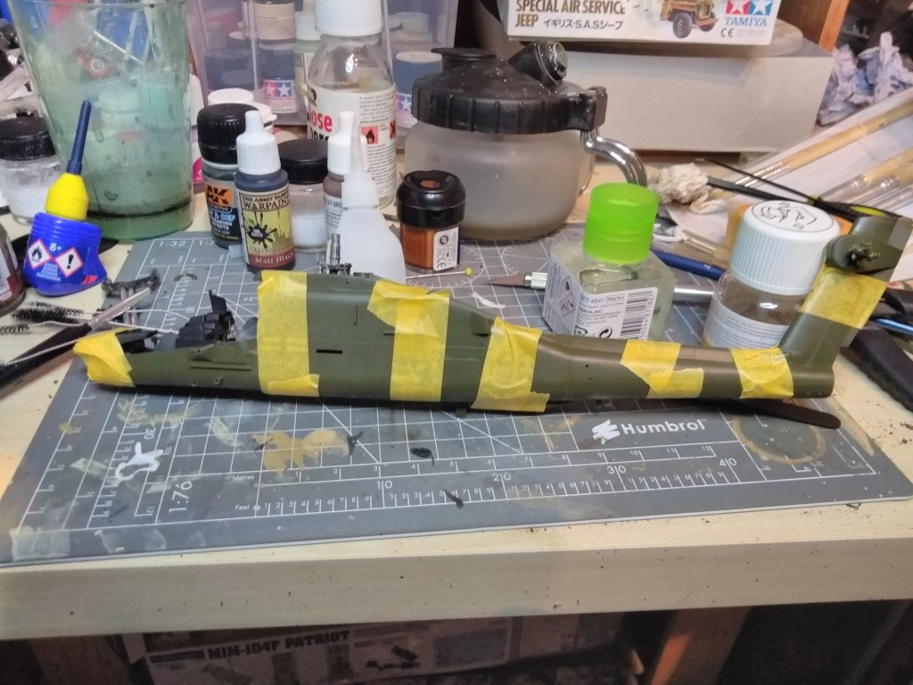 Apache AH-64A Academy Model Body Glued Together And Taped Until Set