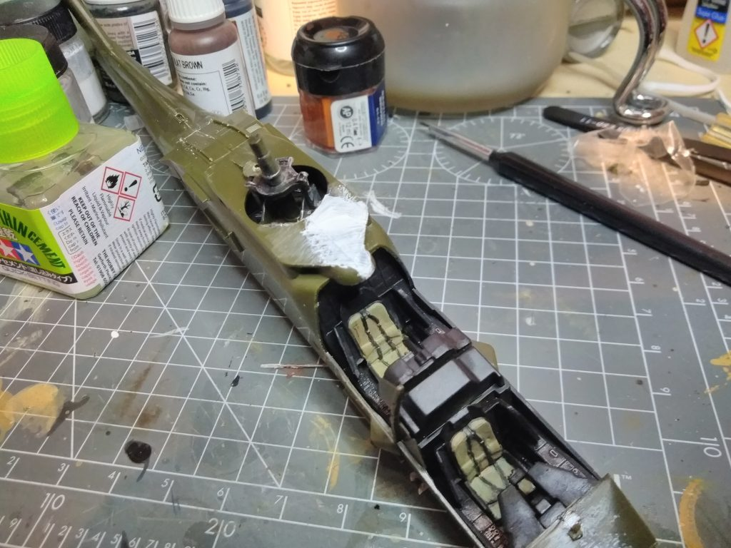 More Detail Work On The Academy Apache Model, Sanding The Joints And Filling Gaps