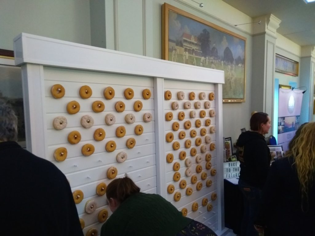 A Wall Covered With Doughnuts.