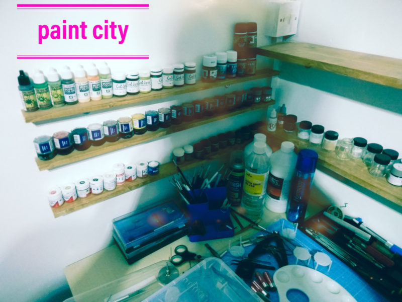 Paints Stacked On The Shelves Ready For Scale Model Making