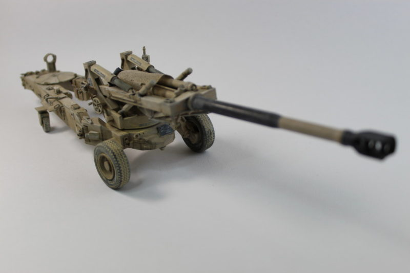 Finished Scale Model Of The U.S M198 Medium Towed Howitzer In Desert Camouflage