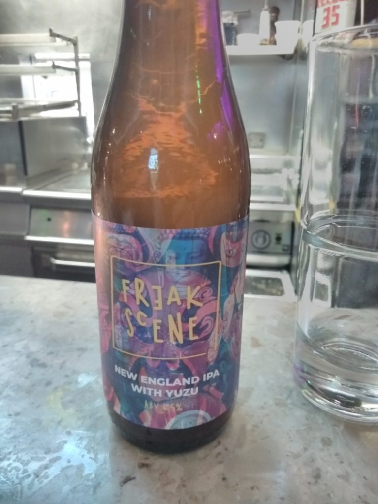 Trying the own label IPA and freak scene restaurant in London