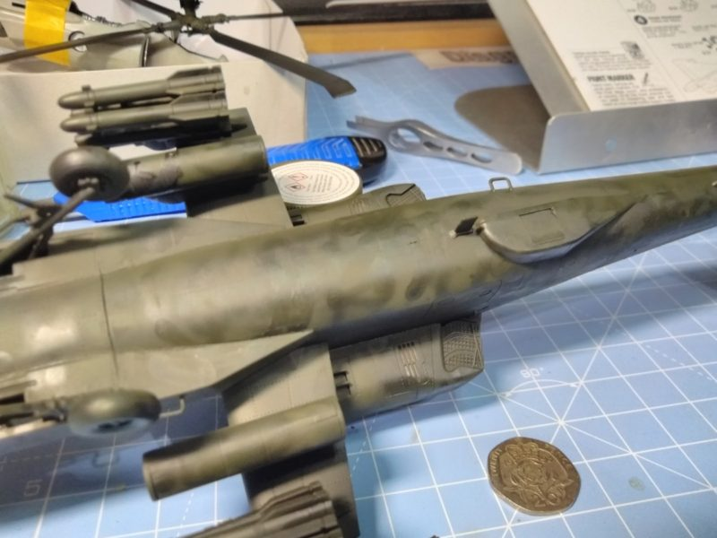 Sprayed With Tamiya Olive Drab XF74 Did A Mottled Affect To See How It Turns Out.