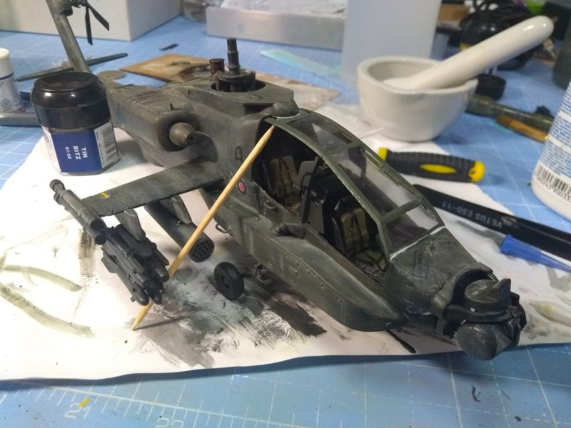 Fitting the cockpit roof to the 1/48th scale Apache helicopter