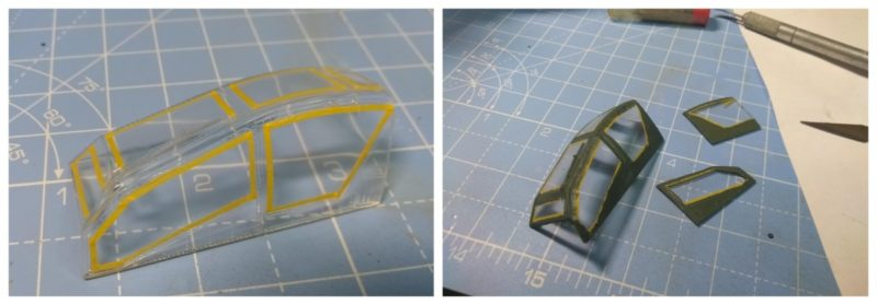 Masked Off the canopy for the 1/48th scale Apache Helicopter Model