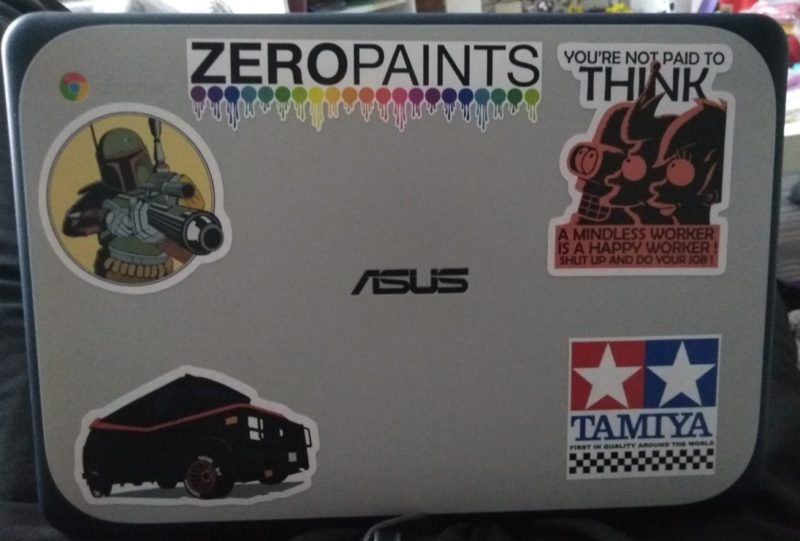 Put Some stickers on my chrome book to tell it apart from my girlfriends