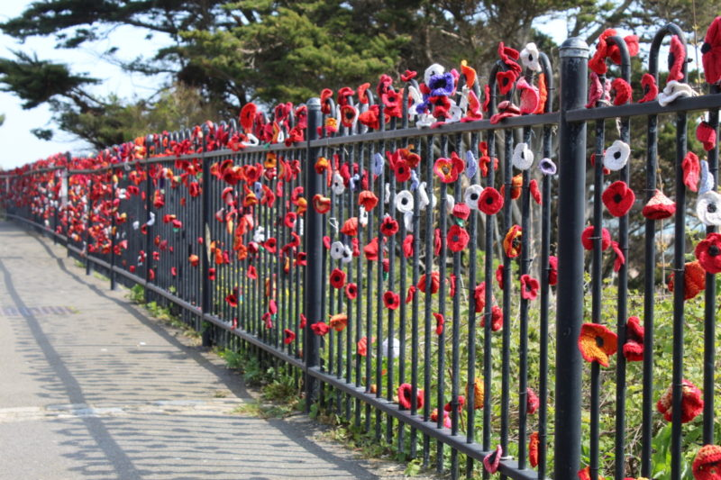 Handmade Poppies on the railings in folkstone kent