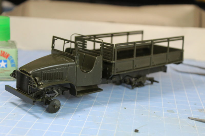 The scale model cargo truck is just about completed