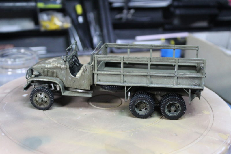 Applying The Chipping to the scale model cargo truck
