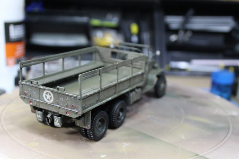 first coat of wash on the cargo truck model and it's looking good