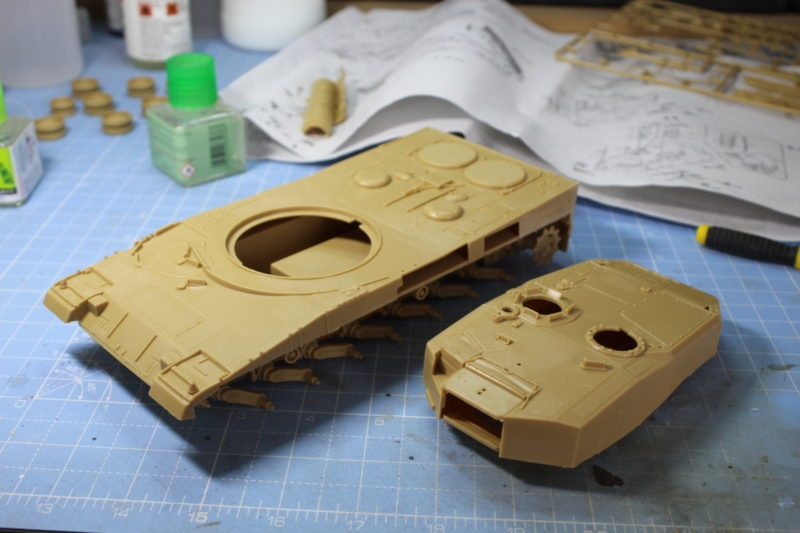 A whole hell of a lot of work joining the main parts of the leopard 2 tank.