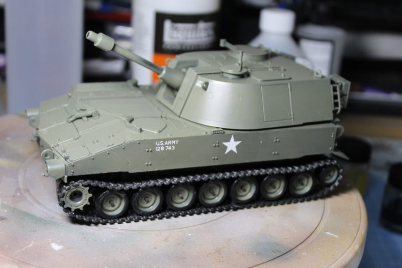 The scale Model 105mm M-108 Painted Up