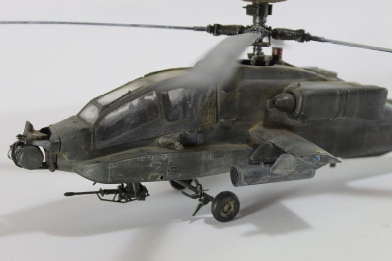 Close Up Of the Apache helicopter model from Academy