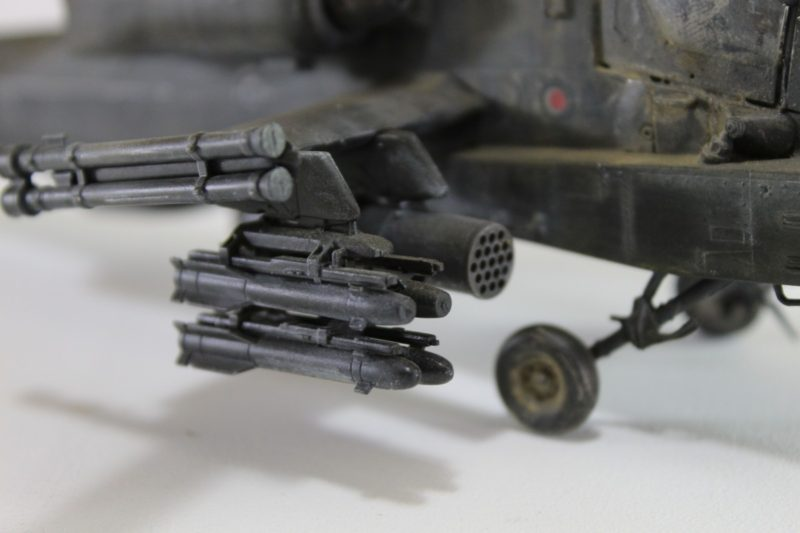 Close Up Of The Apache Helicopter Armaments. On The Academy Scale Model