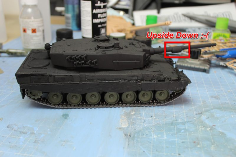 Fitted The Gun Barrel upside down on the leopard 2 135th scale model