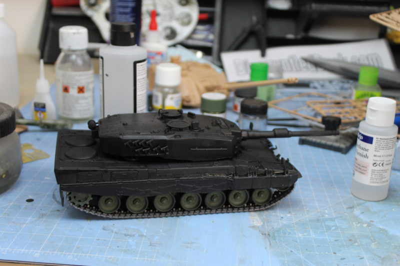Leopard 2 135th scale model first coat ofvarnish