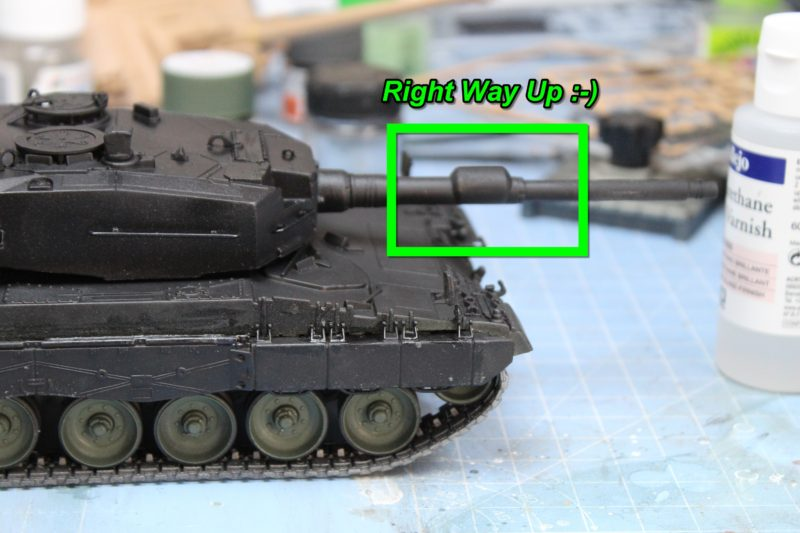 Gun Barrel Fitted Correctly On Scale Model Tank