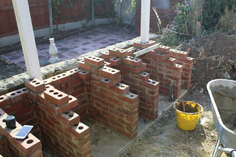Fitting The Bricks To Hold The Kegs And Grills