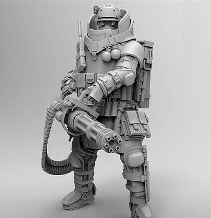 124th Scale Resin Kit Heavy Machine Gunner