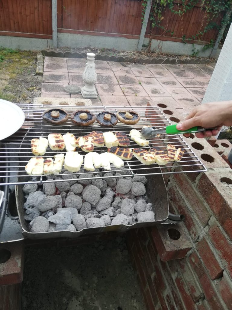 Using The BBQ For Some Mushrooms And Halloumi